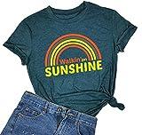 Walkin' On Sunshine Camisas para Mujer, Divertidas Vestidos de Verano arcoíris,...