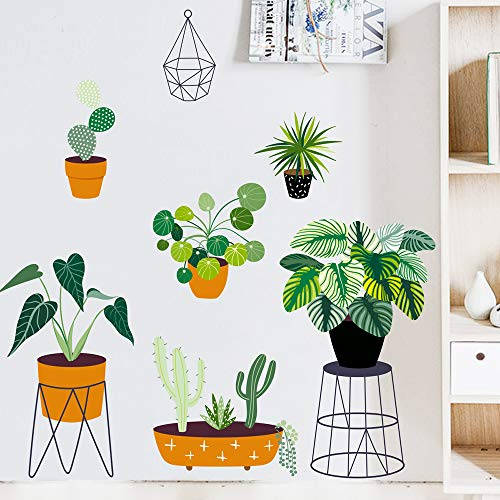 Green Potted Plants Peel and Stick Wall Decal, Removable PVC Bonsai Wall Stickers, Creative Leaf Mural Decoration for Decor Girls Boys Kids Nursery Baby Home Living Room Bedroom Kitchen (39x27.6in)