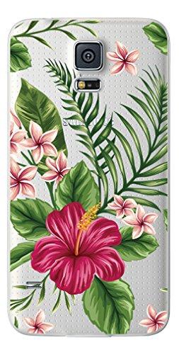 NOVAGO TPU Gel Cover per Samsung Galaxy S5 / S5 Neo /S5 New - trasparente, flessibile, sottile ( Fiori Esotici )