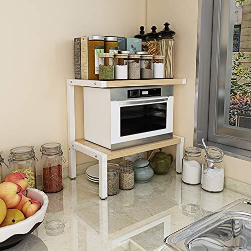 Einfach Küche Mikrowellen Regal Für Arbeitsplatte, Stahl Lager Holz Regale Nützlichkeit Steht Organisieren Multifunktions Bäcker Regal Spice Zähler Kabinett Metall Rahmen-e-gelb 3-böden