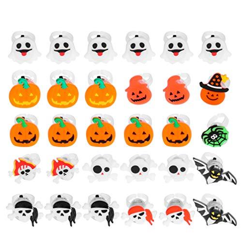 STOBOK 40 anillos luminosos para Halloween, anillos brillantes para niños, diseños variados