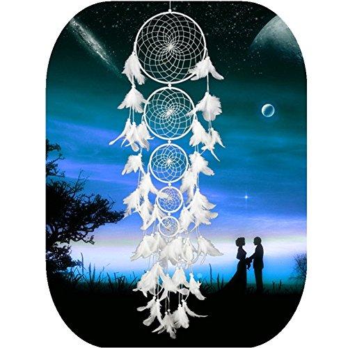 Ieve großer Traumfänger, modern, Weiß, handgefertigt, für Hochzeit, für Draußen, Schmuck, für Party, Weihnachten, Color 3, 100-105 cm