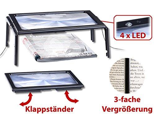 AGT Lupe: XXL-Leselupe mit 3-facher Vergrößerung, 4 LEDs und Klappständer (Vergrößerungslupe) - 2