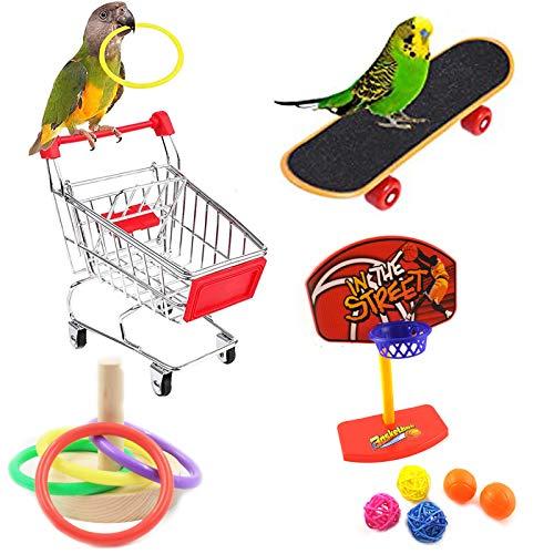 Giocattoli per Uccelli Set, Giocattoli da Addestramento per Uccelli, Pappagallo Mini Carrello della Spesa Skateboard Anello di Allenamento, Pappagalli Giocattoli per addestramento Accessori