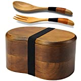 AOOSY Bento Lunch Box, Kids Lunch Box, Japanese Bento Box for Adults Sandwich Lunch Containers Sushi Box 2-Tier Wood Bento Boxes with Fork Spoon