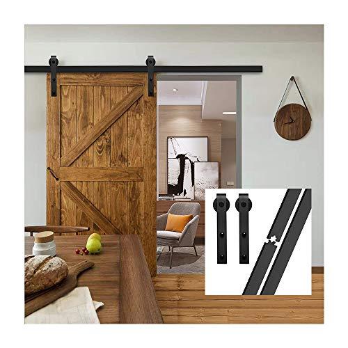 gifsin 6.6FT/200 cm Herraje para Puerta Corredera Kit de Accesorios para Puertas Correderas,Negro J-Forma