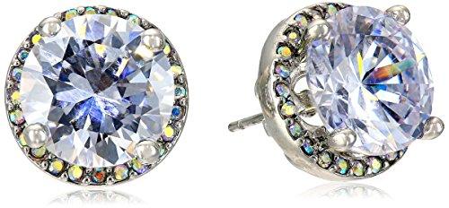 Betsey Johnson Women's Crystal Rhodium Crystal Stud Medium Earrings Crystal Stud Earrings