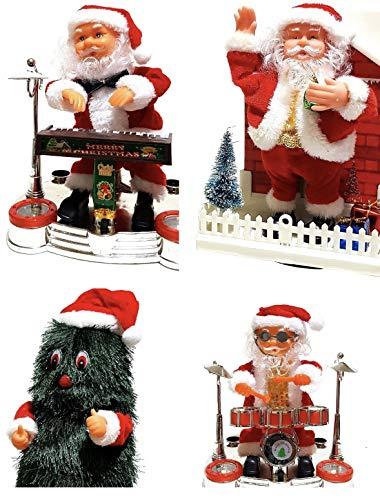 ambestore XXXL Kerstman set muziek LED kerstdecoratie kerstboom kerstboom op batterijen dennenboom drums tafeldecoratie vensterbank open haard