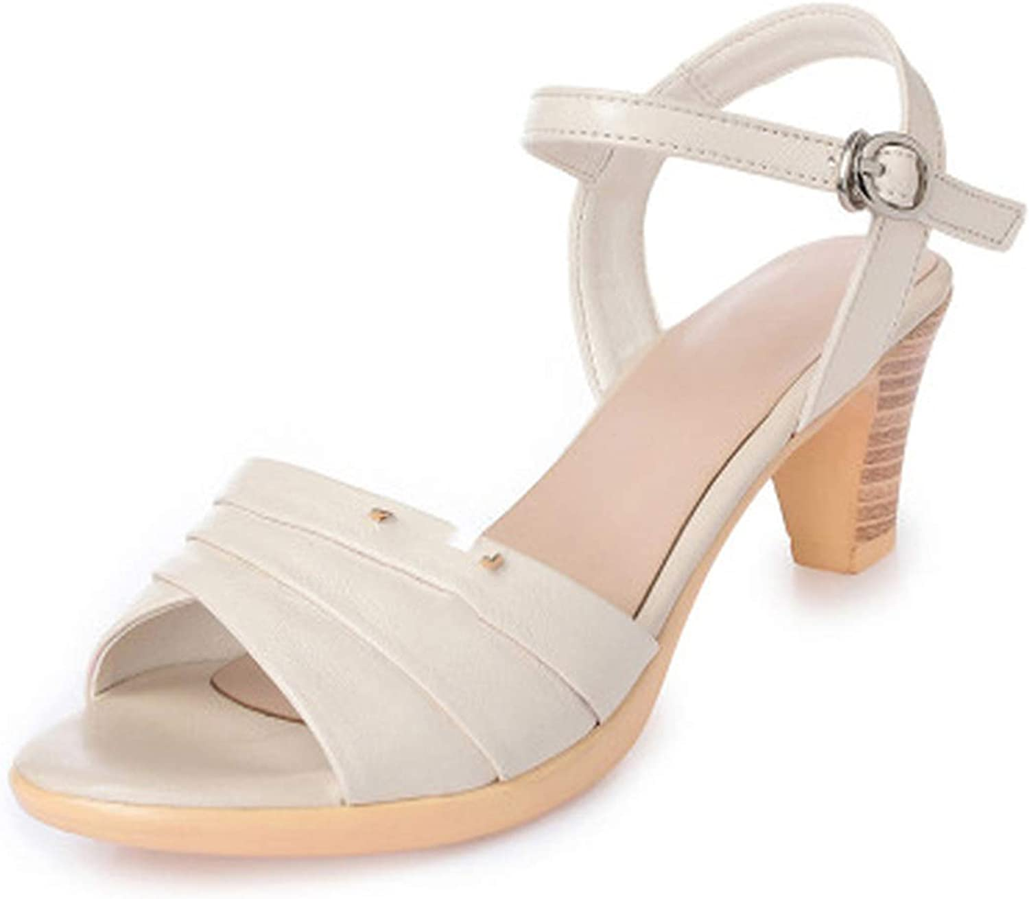 Summer Women's Sandals Genuine Leather Fish Mouth high Heel Platform Open Toes shoes Plus Size