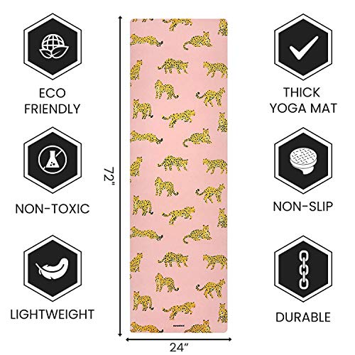 NEUMEE Premium Natural Rubber Suede/Microfiber Yoga Mat – Designed in California – Made for The New You (LeopardsPink …)