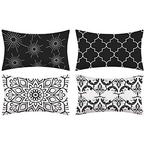 Alishomtll Lot de 4 housses de coussin décoratives pour extérieur - 50 x 30 cm - Noir