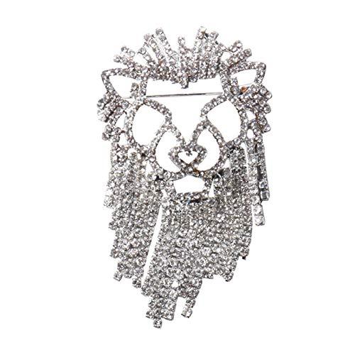 Juguetes de Peluche Lleno de Diamantes Borla Broche exagerada león Modelos de Moda Creativas Silvestre Accesorios Ramillete de la Chaqueta del Traje de Marea