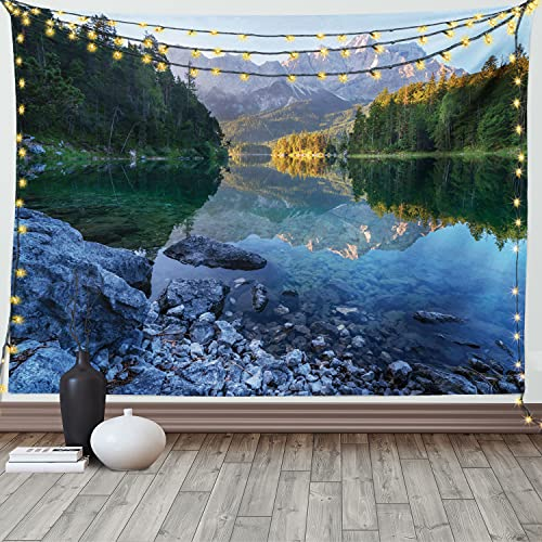 Ambesonne Landscape Tapestry, Sundown on Mountain Lake Eibsee Located in The Bavaria Germany, Wide Wall Hanging for Bedroom Living Room Dorm, 80' X 60', Green Mustard Blue
