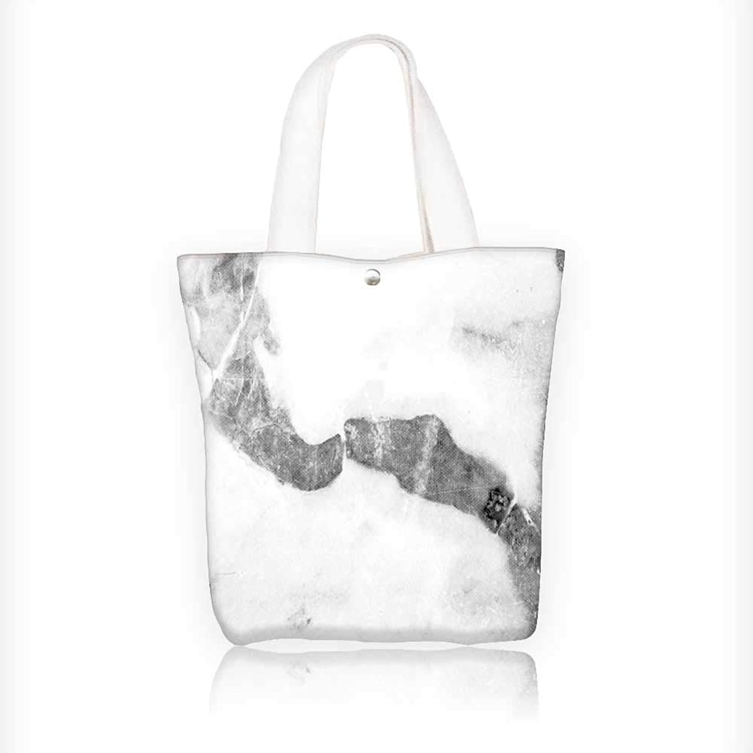 Women's Canvas Tote Bag, Marble Texture, White Marble Background Ladies TopHandle Handbags, Work School Shoulder Bag W16.5xH14xD7 INCH