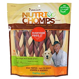 Nutri Chomps Dog Chews, 6-inch Braids, Easy to Digest, Rawhide-Free Dog Treats, Healthy, 10 Count, Real Chicken, Peanut Butter and Milk Flavors