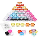 Sample pots,60 Pieces Plastic Pot Jars Empty Cosmetic Container with Lid for Creams Sample Make-up Storage(5g/5ml 10 Colors)