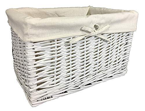 Gran variedad de cestas de mimbre. Forro lavable. Soluciones de almacenamiento Blanco, 32 ltr