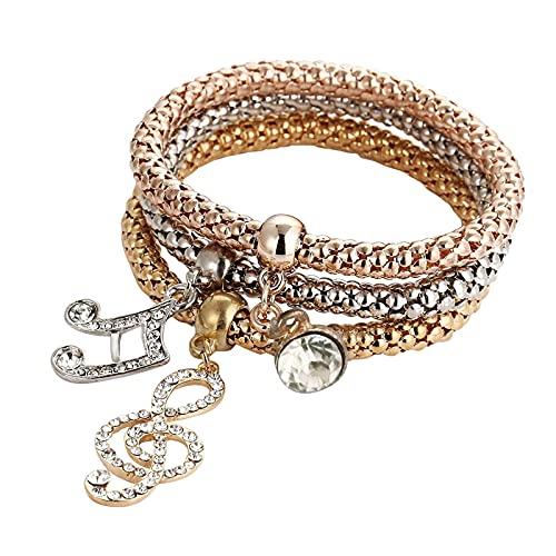 Anu Linen Multilayer Bracelets for Women, 3pcs Animals Key Cute Pattern Gold/Silver/Rose Gold Chain Stretch Bracelet