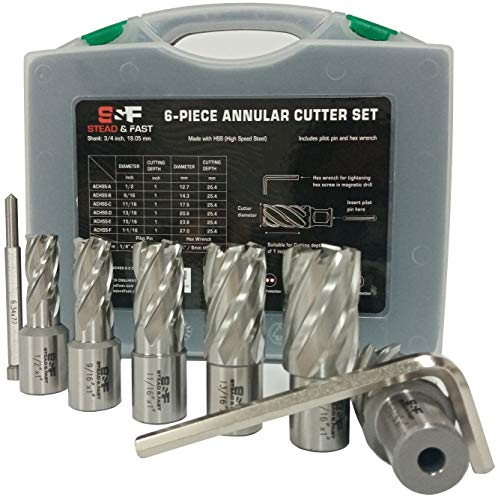 """Annular Cutter Set 6 Pcs, Weldon Shank 3/4"""", Cutting Depth 1"""", Outside Diameter 1/2 to 1-1/16 Inch, Mag Drill Bits Kit for Magnetic Drill Press by S&F STEAD & FAST"""