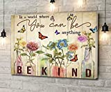Canvas Wall Art Butterfly In A World Where You Can Be Anything Wooden Style Artwork Wall Art for Living Room Bedroom Bathroom Room Office Decor Framed 8''x12''
