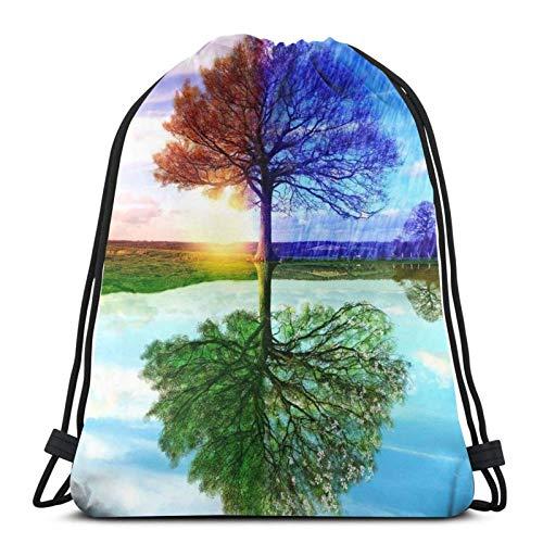 Lmtt Mochila con cordón, deportes, gimnasio, mochila, bolsa de viaje, árbol de cuatro estaciones