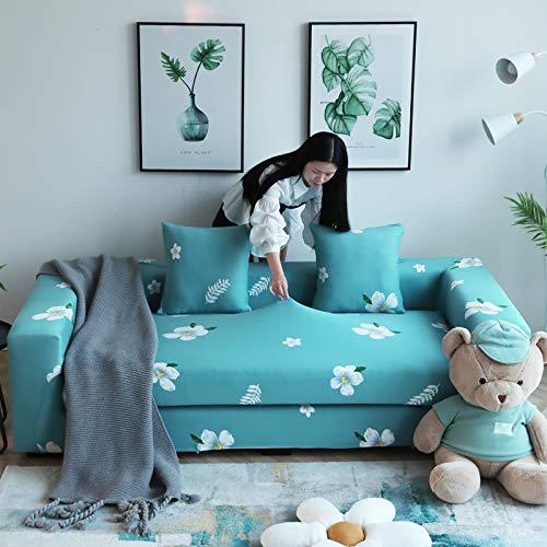 FLOPKG Sofa Protettorefodera per Divano all-Inclusive Universale, Chaise Longue Universale Elastica per 4 Posti (235-300 Cm) Verde-Gardenia