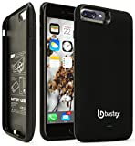 iPhone 7 Plus Battery Charging Case, Bastex Slim Fit Black Hard Plastic Rechargeable High Capacity Battery Charger, 7500mAh, Durable Rugged Protective Case Cover for Apple iPhone 7 Plus