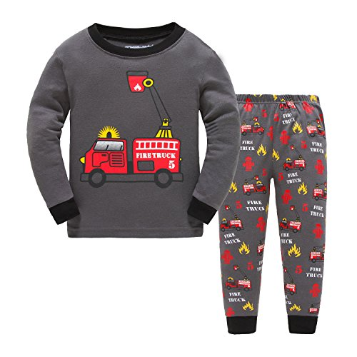 Showu bambini e Ragazzi Manica Lunga Completo Camicia + Pantaloni Clothing Outfits Pigiama Set (Camion dei Pompieri, 5-6 Anni)