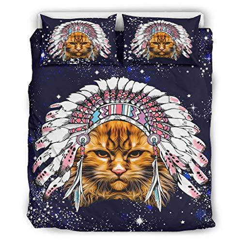 DOGCATPIG Colcha Native Cat Estilo Moderno Pareja Ropa de Cama para Colegas Blanco 264,2 x 228,6 cm