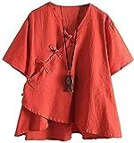JKGHK Abbigliamento per Arti Marziali Manica Corta T-Shirt Cinese Frog Button Donna Top Camicetta,Arancia