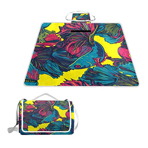 XINGAKA Couverture de Pique-Nique,Betta Poisson coloré Seamless Pattern Siamois,Tapis Idéale pour Plage Jardin Parc Camping
