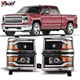 Winjet Compatible with [2014-2015 Chevrolet Silverado 1500] LED DRL Bar Projector Headlights