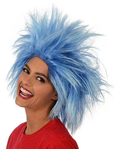 Kangaroo's Funky Spiky Blue Wig; Costume Wig, Blue, Size One Size