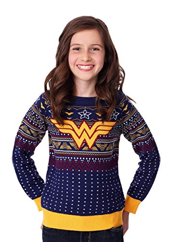 Fun Costumes Kid's Wonder Woman Navy Ugly Christmas Sweater – 3T