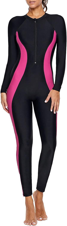 Momodani Women's Zip Front Color Block Swimsuit Short Sleeve One Piece Sporty Rash Guards Swimwear S-3X