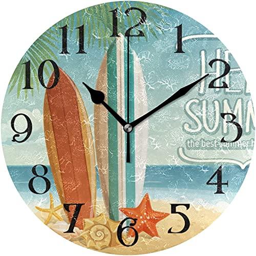 DKISEE Tabla de surf en la playa de madera redonda sin garrapatas reloj de pared para dormitorio, sala de estar, cocina, regalo de cumpleaños, idea de 35 x 35 cm