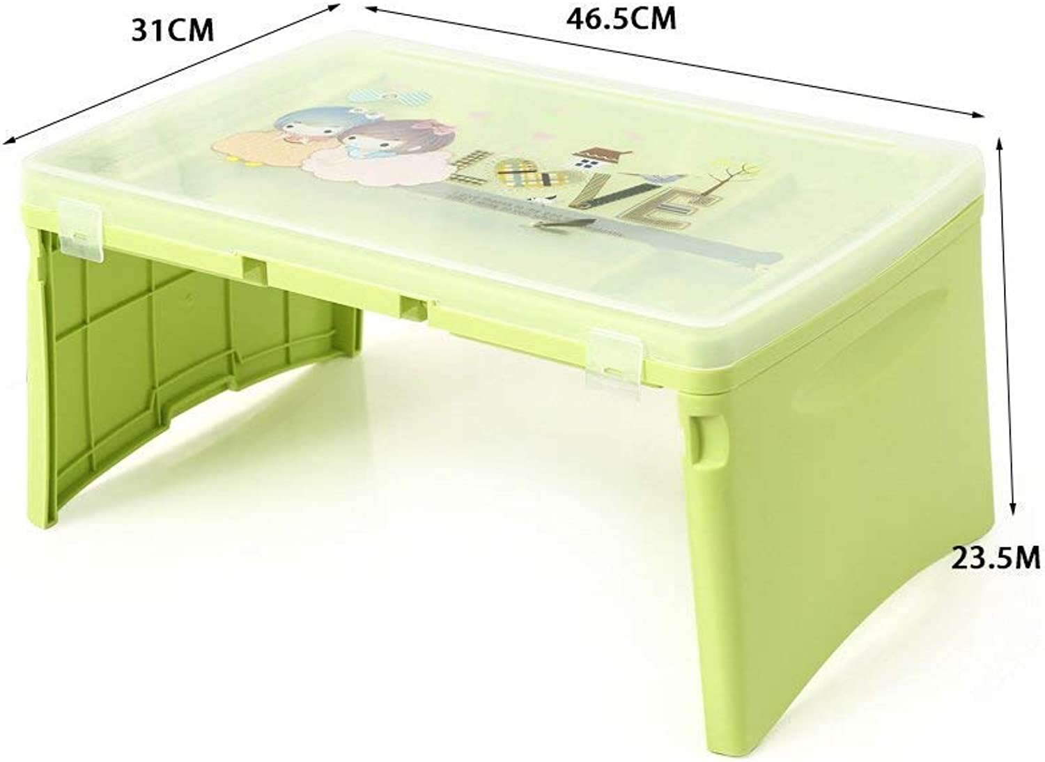 Home Practical Folding Table Small Table- Folding Table Plastic Multifunction Storage Table Foldable Storage Table Computer Desk Save Space Dormitory Student Easy Lazy Bed Simple Home (color   1)