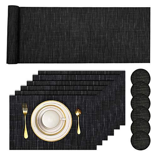 Pesonlook 13Pcs Set de Table en PVC résistant à la Chaleur Set de Table en Vinyle tissé Set de Table et Tapis de Table antidérapants, 6 Sets de Table + 6 sous-Verres + 1 Chemin de Table, (Noir)
