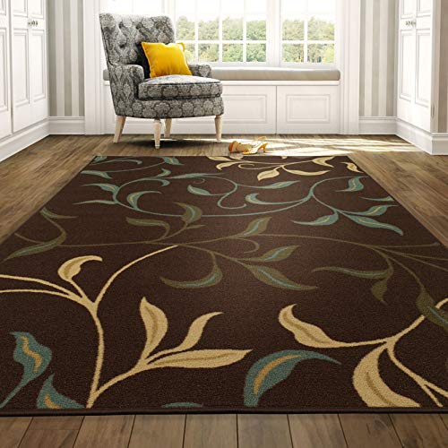 "Mejor Ottomanson Contemporary Leaves Design Modern Area Rug, 5'0"" W x 6'6"" L, Choclate crítica 2020"