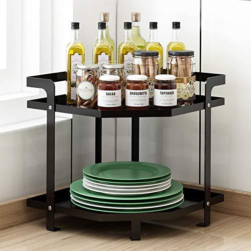 Apsan 2-Tier Kitchen Corner Organizer Shelf Coffee Tea Bar Counter Shelf Kitchen Countertop Organizer Rack for Dishes Plates Pot Spice Can Sauce Jars - Black