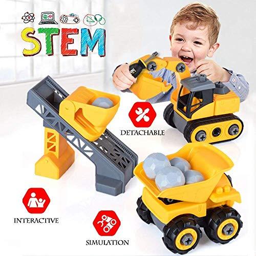 Uit elkaar halen Bouwvoertuig Truck Speelgoed Sets, DIY montage Dump Truck, Graafmachine met stenen en schroevendraaier, Educatief bouwgeschenk