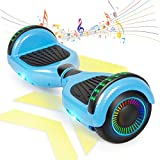 FLYING-ANT Hoverboard Self Balancing Scooters 6.5' Flash Two-Wheel Self Balancing Hoverboard with Bluetooth Speaker and LED Lights for Kids and Adults Gift(Carbon Blue)