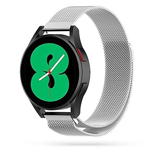 Tech-Protect Milaneseband - Correa para reloj de pulsera, de metal, compatible con Samsung Galaxy Watch 4 40/42/44/46 mm, color plateado