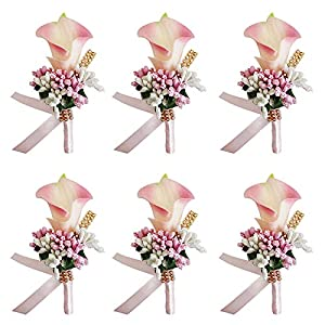 MOJUN Groom Groomsman Calla Lily Boutonniere Buttonholes Corsage Calla Lily Flowers Brooch for Wedding Prom Party, Pack of 6, Peach Pink