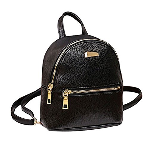 Donalworld Women Floral School Bag Travel Cute PU Leather Mini, Blak, Size Small
