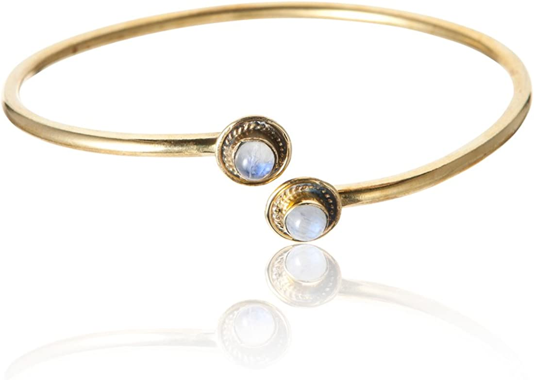 81stgeneration Women's Brass Gold Tone Moonstone Adjustable Bangle Cuff Bracelet