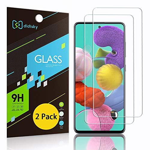 Didisky - Protector de pantalla de cristal templado para Samsung Galaxy A51, [2 unidades] [toque suave] [fácil de limpiar] transparente