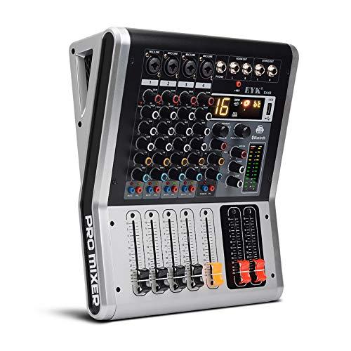 Weiming Professional Audio Mixer 4 Kanäle Studio Mischpulte mit Mute und PFL-Schalter, 16 DSP-Effekt DJ-Mixer