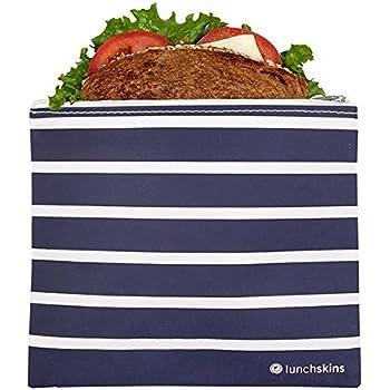 Lunchskins Reusable Zippered Sandwich, Food Bag, Storage, Navy Stripe