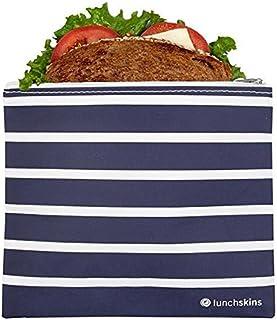Lunchskins Z-MED-STRIPE-NAV Reusable Zippered Sandwich Bag, Navy Stripe